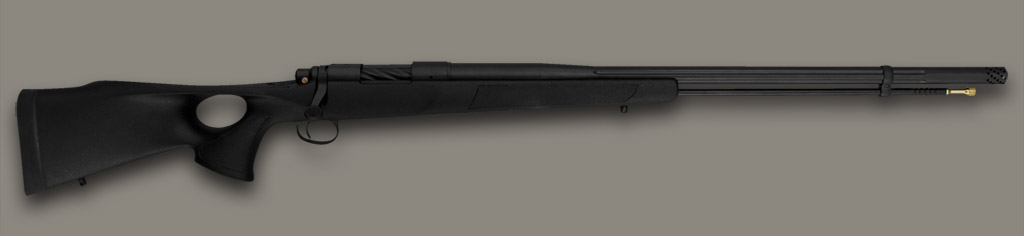Black Widow Johnston Muzzleloader in black synthetic Synthetic stock