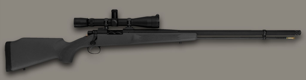 Johnston Muzzleloader Black Widow in gray, synthetic, McMillan stock with optional scope