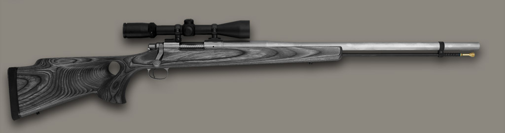 Johnston Muzzleloader base Hunter model with laminated pepper stock and optional Burris scope package