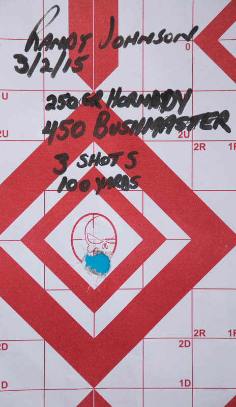 100 yard three shot group with game breaker 450 bushmaster rifle